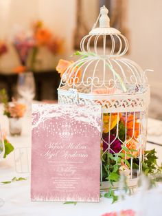 Pastel Pink - Royal Winter Garden Wedding Invitation by WeddingSundaeStudio #wedding #invitation #invites #card #etsy #pastel #pink #blush #chandelier #stationery #tree #WeddingSundaeStudio