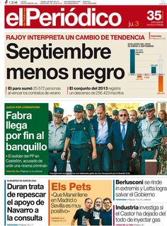 Los Titulares y Portadas de Noticias Destacadas Españolas del 3 de Octubre de 2013 del Diario El Periódico ¿Que le pareció esta Portada de este Diario Español?