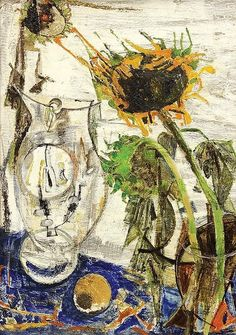 Fausto Pirandello Still Life with Sunflower 1950 Best Abstract Paintings, Georges Braque, Italian Painters, Pablo Picasso, Still Life, Sculptures, Gallery, Creative, 1975