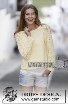Free knitting patterns and crochet patterns by DROPS Design Drops Patterns, Lace Patterns, Crochet Patterns, Crochet Pullover Pattern, Knit Crochet, Summer Knitting, Free Knitting, Drops Design, Sweater Knitting Patterns