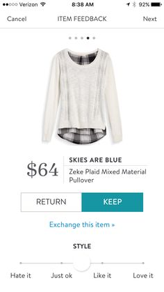 Love this white pull over with black and white plaid button up peek a boo underneath for fall. Stitch fix fashion trends. Stitch fix fall 2016.