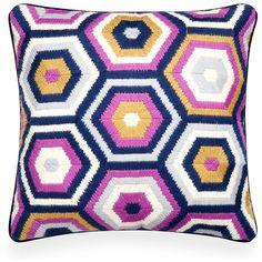 Bargello Honeycomb Pillow by Jonathan Adler Purple Throw Pillows, Decorative Throw Pillows, Accent Pillows, Pillowcases & Shams, Wool Embroidery, Fabric Rug, Needlepoint Pillows, Jonathan Adler, Bargello