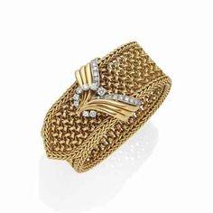1950's Diamond,  Gold & Platinum Bracelet