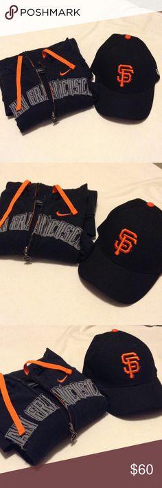 San Francisco Giants bundle⚪️ Zip up hoodie by Nike size small and new era cap. EUC Nike Sweaters