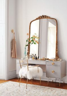 Mirror Decoration You Will Love. Mirror Decoration You Will Love. In interior design, a mirror can be something that has magical power. The mirror can brighten a room that feels dark,. Home Bedroom, Master Bedroom, Girls Bedroom, Mirror Bedroom, Bedroom With Vanity, Wall Lamps, Grey And Gold Bedroom, Bedroom Lighting, Bedroom Mirrors