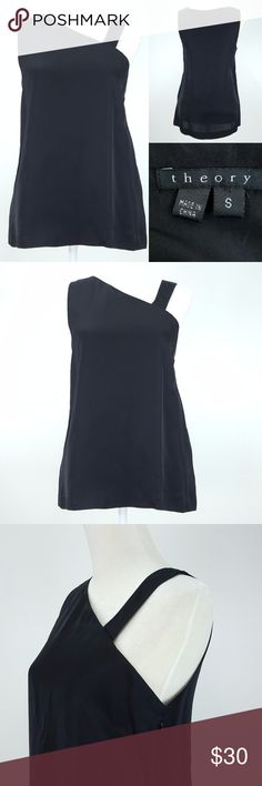 """Theory Nebia Strappy Viscose Silk Lined Top Small This Theory brand sleeveless top is a women's size Small. See measurements for your best fit.  Perfect to wear to the office or with jeans for a more casual look Asymmetrical straps, tag shows style is Nebia CONDITION: Gently used, minimal signs of wear, no flaws  MEASUREMENTS: all taken with garment laid flat  chest from armpit to armpit:  17x2=34"""" back of neck to bottom hem:  24"""" top of strap to bottom hem: 25.5"""" bottom hem: 20x2=40"""" Theory…"""