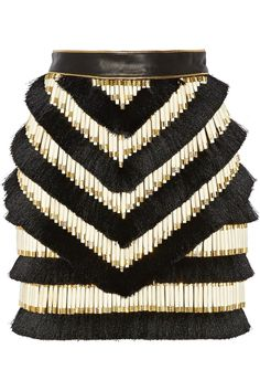 Balmain   Embellished leather mini skirt   NET-A-PORTER.COM