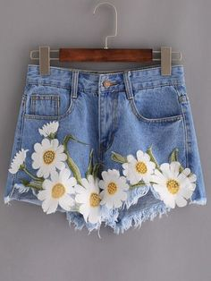 SheIn offers F… Shop Frayed Embroidered Flower Applique Blue Denim Shorts online. Painted Jeans, Painted Clothes, Shorts Style, Denim Shorts, Blue Shorts, Flower Applique, Embroidered Flowers, Embroidered Shorts, Flower Embroidery