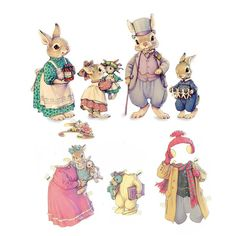 Museum of Happiness: What's more fun than dressing up rabbits? What a sweet Easter treat for Bunny Babe these bunny paper dolls from Magic Cabin would be. Image 3d, Paper Art, Paper Crafts, Paper Animals, Vintage Paper Dolls, Vintage Easter, Peter Rabbit, Beatrix Potter, Beltane