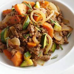 Sweet Potato-Zucchini Hash-This is a healthy meatless full meal recipe. It is low in calories, low in fat, low in sugars, low in carbohydrates. It is also a diabetic, heart-healthy and WeightWatchers (5) PointsPlus recipe. Makes (4) servings at a (1-1/4 cup) serving size.
