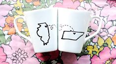 State or Country Heart Mugs-Going Away Present, Moving Away, Long Distance Relationship, Miss You, Overseas Adoption- Customize. $30.00, via Etsy. Aw these are cute!