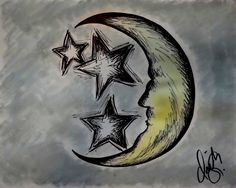 """Stars and Moon"" Drawing/Watercolor 2015 by indiaSheana www.indiaSheana.com"