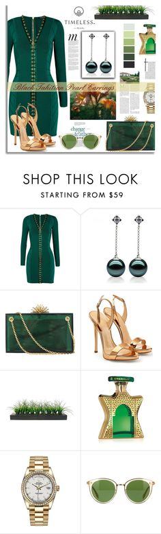 """""""Black Tahitian Pearl Earrings"""" by timelesspearl ❤ liked on Polyvore featuring Balmain, Charlotte Olympia, Giuseppe Zanotti, Vintage, Bond No. 9, Rolex, Whiteley and Oliver Peoples"""