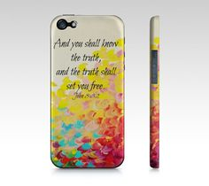 The Truth  iPhone 4 4S or 5 5S 5C Hard Case Bible by EbiEmporium, $40.00 Abstract Art Typography  Inspirational Jesus Christ Bible Verse Christian Quote Religious iPhone Case, Cell Phone Cover, Whimsical Uplifting Fine Art Rainbow Happy Splash of Color