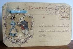 Details about  Alice in Wonderland 4 Large Post Card tent card party favor table decoration