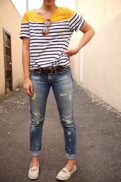 5ab2aad3d0 Thrifting and refashioning to make old clothes stylish again. Boyfriend  Jeans Outfit Summer