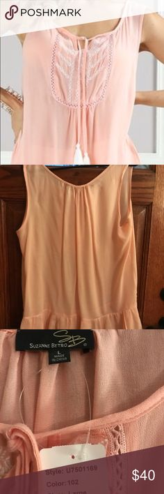 Pink sheer sleeveless top with ruffle Pink sheer tie neckline sleeveless top with ruffle bottoms Dana Buchanan Tops