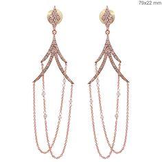 18k Solid Rose Gold 1.34ct Diamond Pave Fine Dangle Chain Long Earrings Jewelry #Handmade #DropDangle