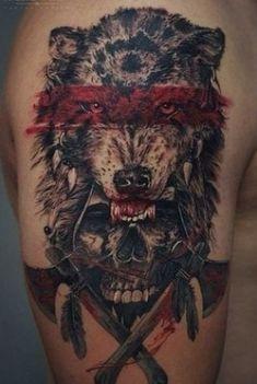 Indian Skull Tattoos, Skull Sleeve Tattoos, Wolf Tattoo Sleeve, Sugar Skull Tattoos, Body Art Tattoos, Native Tattoos, Warrior Tattoos, Badass Tattoos, Viking Tattoos