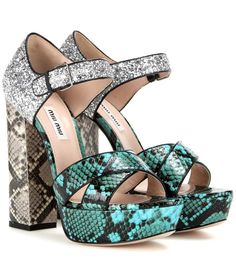 MIU MIU Glitter Snakeskin Platform Sandals. #miumiu #shoes #current week