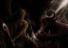 In the deep of the world. Warrior fights with creature in the cave world.