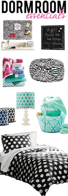 Dorm Room Essentials at Pottery Barn -- great for teen girl room too