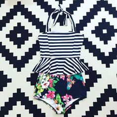 My @bevswim suit for Hawaii next week! Yes, this is the most adorable swimsuit ever and yes she can make you one too! The Poppy Peplum suit in stripe and Hawaiian floral!