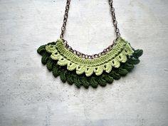 green crochet necklace