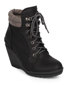 Liliana DK68 Women Leatherette Two Tone Lace Up Work Wedge Bootie - Black *** Be sure to check out this awesome product.