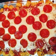 Tator tot pizza. Yum