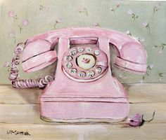 Ready to Hang Print  - Pink Telephone - Postage is INCLUDED Australia wide