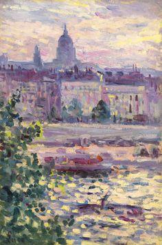 Paris, Les Bords De La Seine, Les Invalides, 1910, by Maximilien Luce (French 1858-1941)