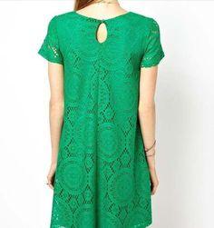 vestido  verde soltinho de renda grippir todo forrado