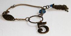 Boho Vintage Style Charm Bracelet - Vintage Blue Glass Button - Chain Tassel - Vintage Gold - OOAK