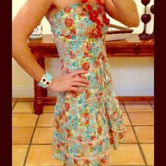 Rampage Floral Strapless Dress size 00