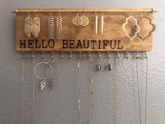 Excited to share this item from my shop: Jewelry Organizer Wall Jewelry Organizer Jewelry Storage Earring Holder Necklace Holder Wall Jewelry Display Gift for Her - July 07 2019 at Diy Jewelry Unique, Diy Jewelry To Sell, Custom Jewelry, Jewelry Crafts, Jewelry Making, Trendy Jewelry, Cheap Jewelry, Jewelry Wall, Jewelry Armoire