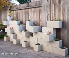 Homemade Planters | Homemade cinder block planter wall