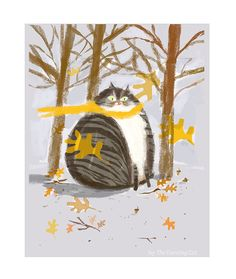 Autumn Leafs Cat Print Cat Painting Wall Art Cat Lover