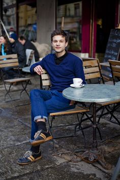 ***Here the denims have been folded up very neatly and the exposed leg is covered up with socks.  coffee & sneakers, men's fashion, man's fashion. boy, girl, man, gentleman, fashion for men, men's wear