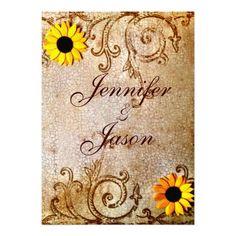 Rustic Shabby Chic Sunflowers Brown Wedding Invitations