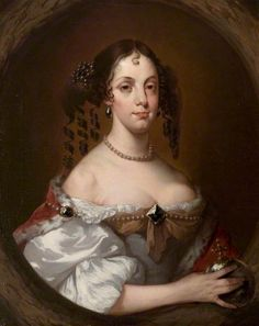 Catherine of Braganza (1638–1705), Queen Consort of King Charles II   by Pieter Borsseler (attributed to) ~ collection of Warwick Shire Hall