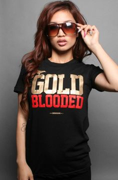 GOLD BLOODED Women's Black/Gold Tee http://adaptadvancers.myshopify.com/collections/womens-classic-tees/products/gold-blooded-womens-black-gold-tee