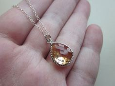 Blush Champagne Necklace Peach Pink Silver Teardrop by laalee