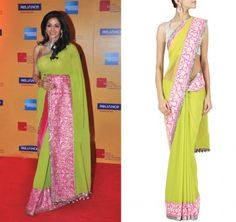 Manish Malhotra Lime green net and georgette Sari with shocking and pale pink embroidered and sequin border with golu's.