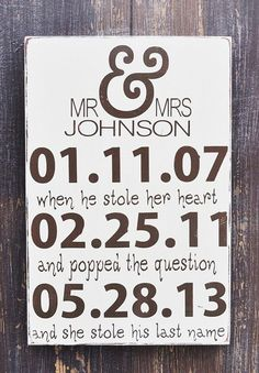 Wedding Sign Anniversary Gift Personalized Engagement by wavynavy