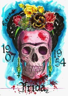 Frida watercolor  #skulls #DOTD
