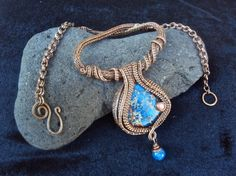 Atlantis-wire wrapped copper necklace viking by wireandbeyond808
