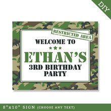 "Camo Party 8"" x 10"" Sign (Digital File)"