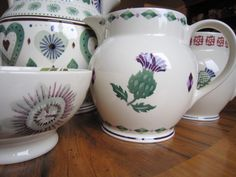 Emma Bridgewater Thistle 1.5 Pint Jug for The Museum of Scotland 1.5 Jug (in the background) and Thistle 1.5mPint Jug