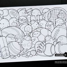 #inktober Day 9 - Sport Items #inktober2016 Doodle Coloring Page